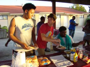 students having an on-campus cookout