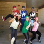Students dressed as power rangers