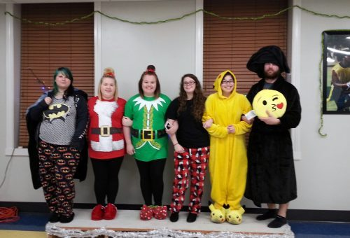 students dressed for a pajama party