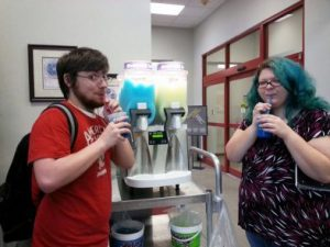 Students drinking slushies