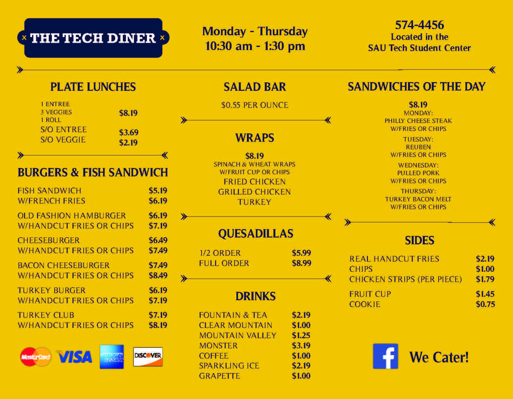 diner menu in yellow