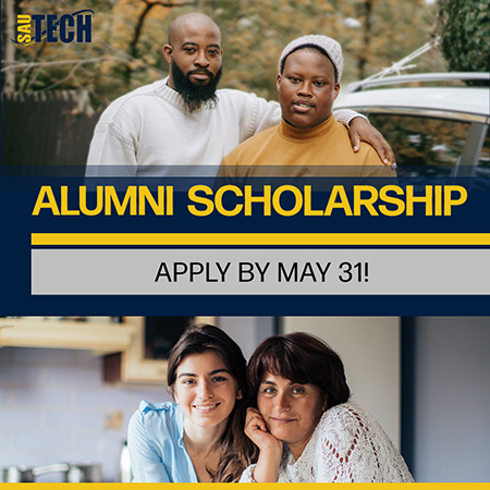Promotional graphic for Alumni Scholarship