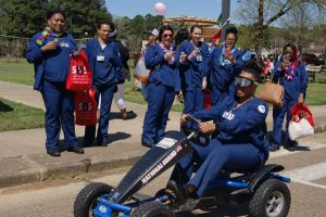 nursing students having a fun time during college event