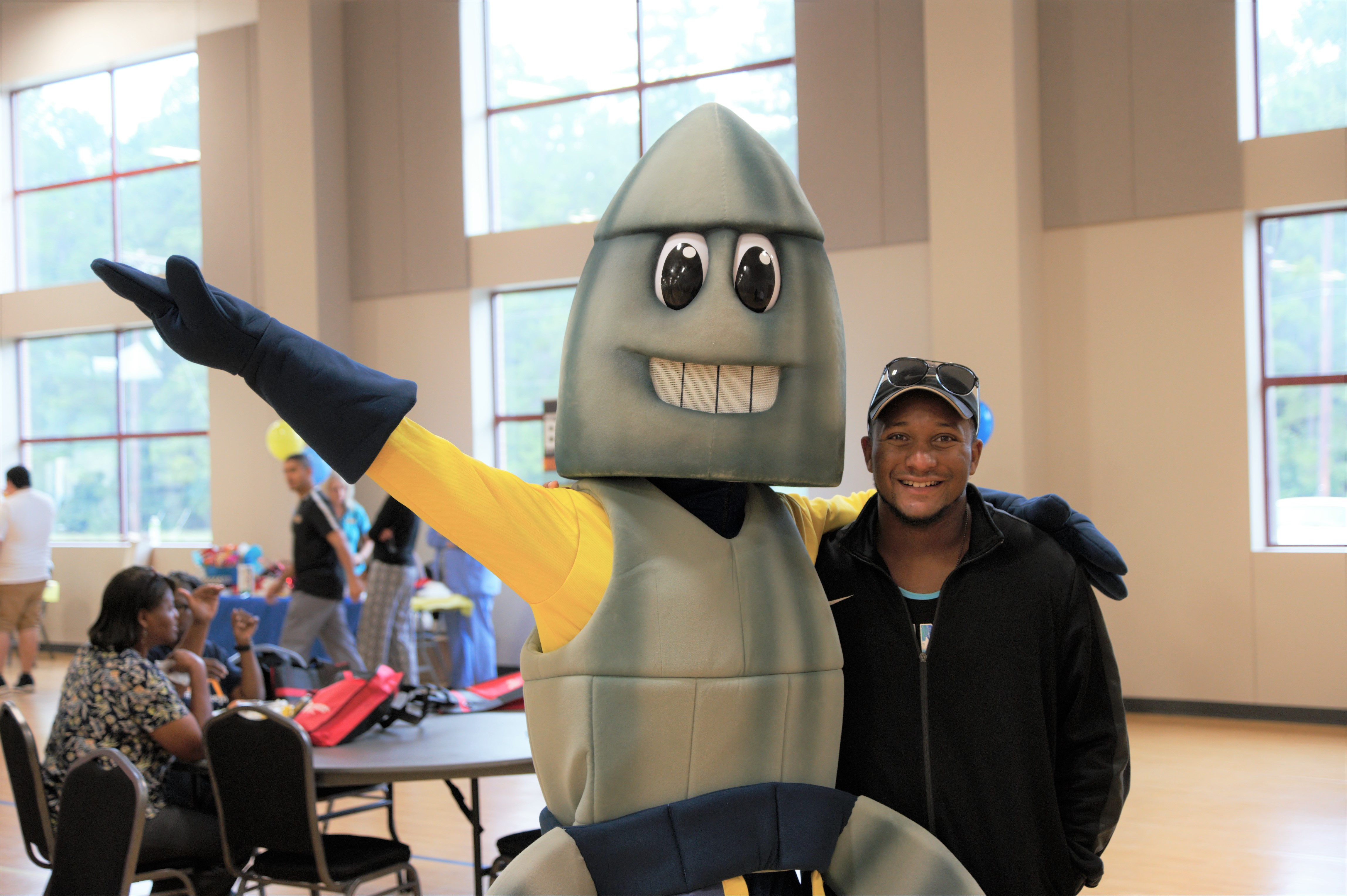 college mascot and student
