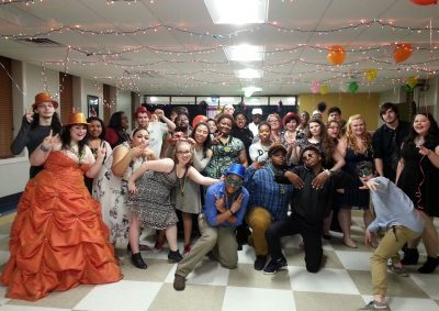 students having fun at a MardiGras party
