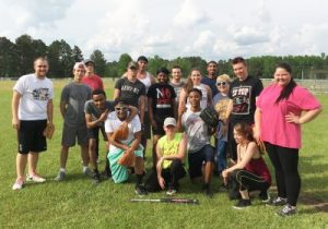 group of students after a softball game