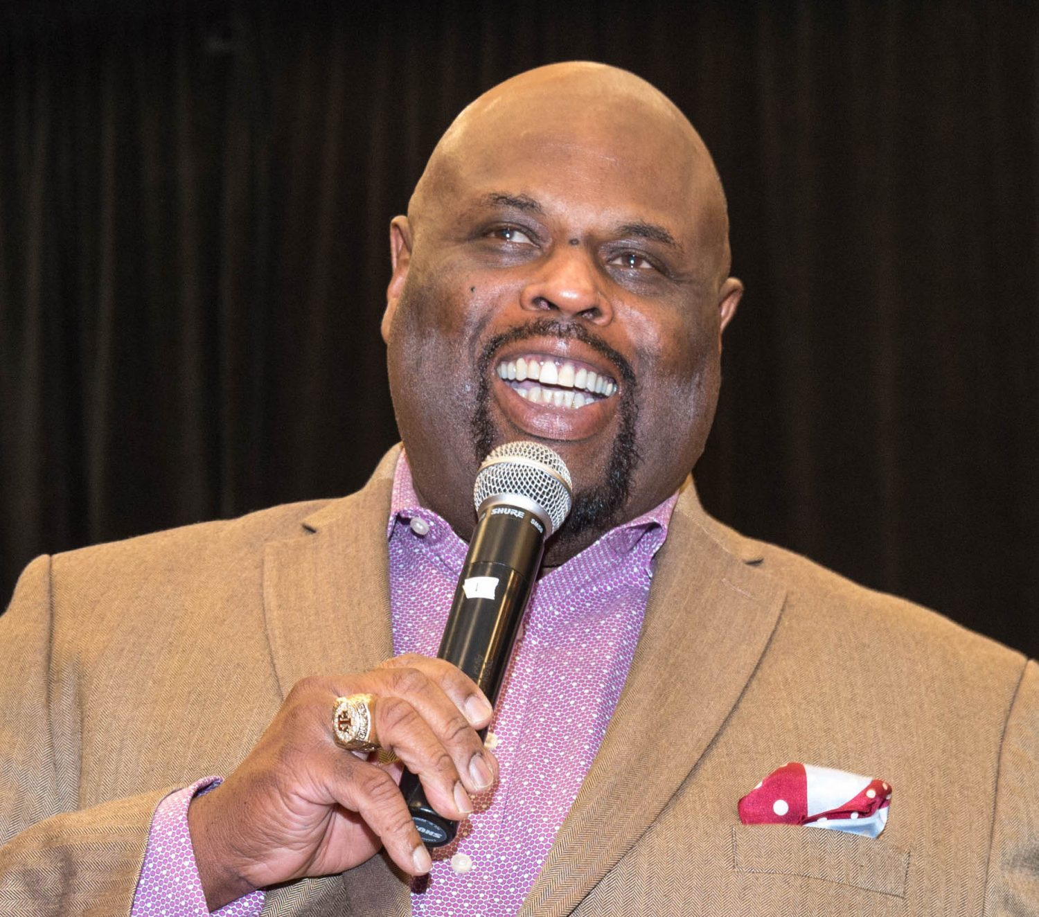 black man with microphone