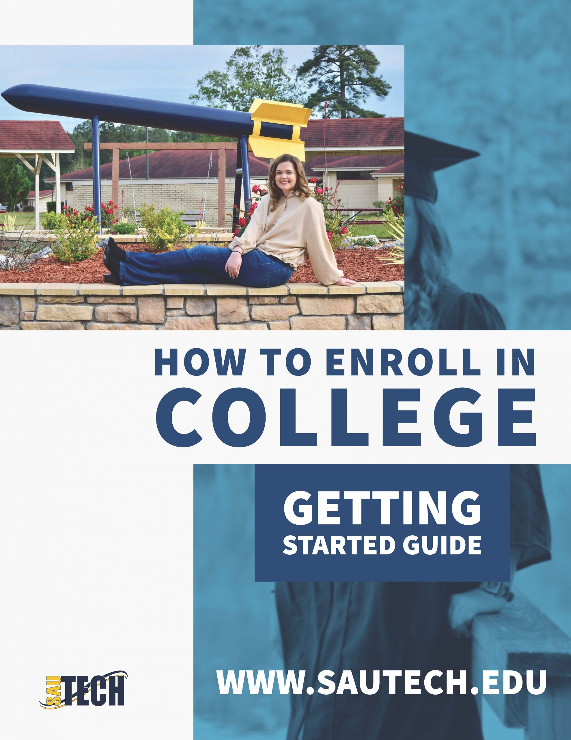 image that says how to enroll in college guide