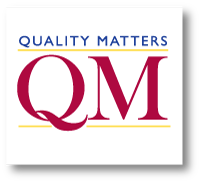 logo with a red letter Q and M and the words quality matters