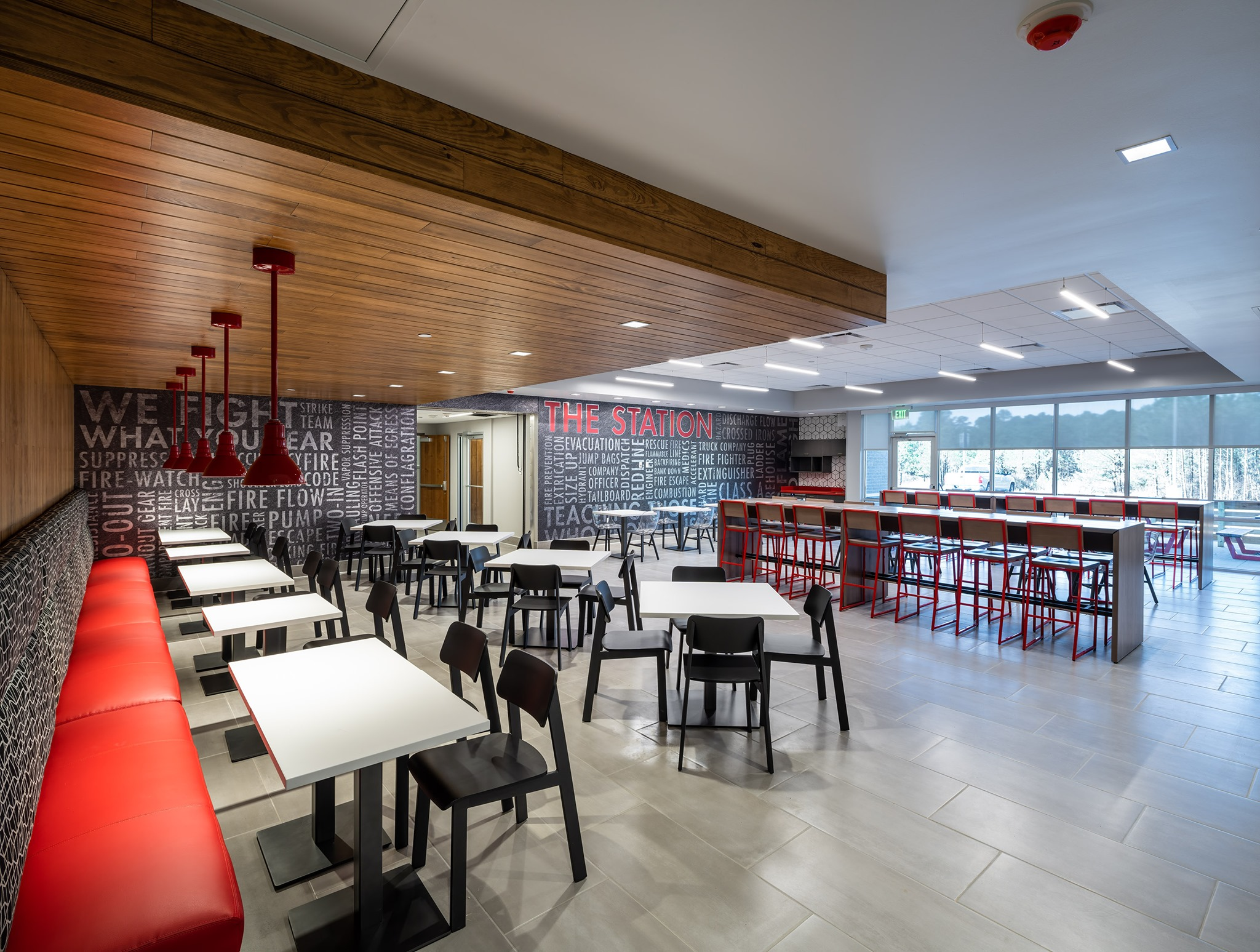 cafeteria with stainless and red trim