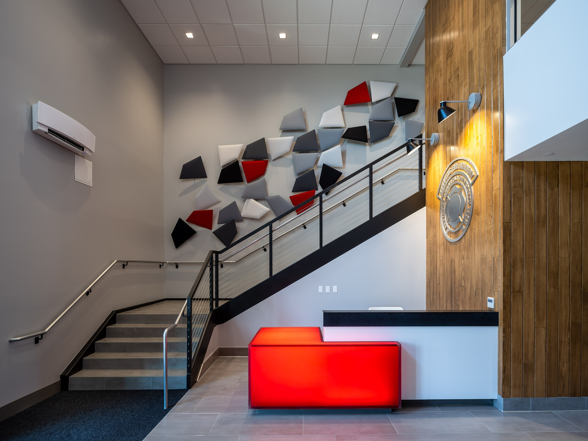 stairwell and modular art on the walls